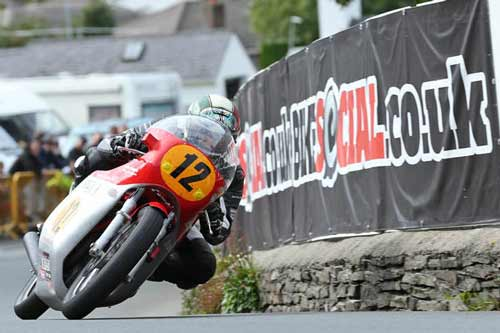 Dean Harrison on his way to victory at the Classic TT 500cc