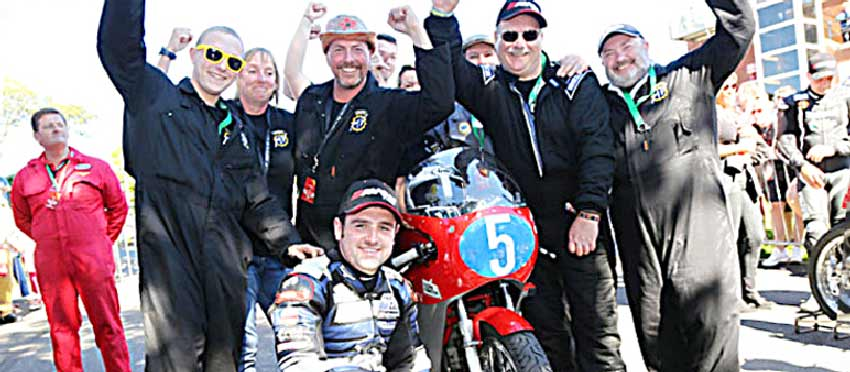The Black Eagle Race Team celebrates Michael Dunlop's win at the Okells Junior Classic